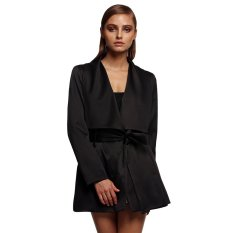 Cyber Korean Style Ladies Women Career Long Sleeve Lapel With Belt Coat Waistcoat (Black)