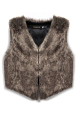 Cyber Ladies Casual Outwear Faux Fur Waistcoat Gilet Jacket Coat Cool Vest (Brown)