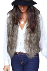 Cyber Ladies Casual Outwear Faux Fur Waistcoat Gilet Jacket Coat Cool Vest (Grey)
