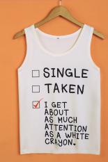 Cyber Letter Print Women's Sleeveless Casual T-shirt Loose Summer Tank Top (Type 2)
