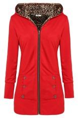 Cyber Meaneor Stylish Ladies Women Casual Long Sleeve Solid Pocket Zipper Hoodie Sweatershirt Leisure Coat Outwear (Red)