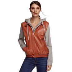 Cyber Meaneor Stylish Ladies Women Casual PU Leather Patchwork Coat Jacket Hooded Outerwear Detachable Zipper Hoodie (Orange)