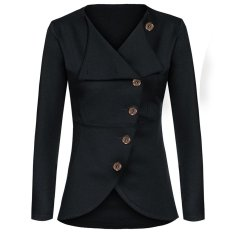 Cyber Meaneor Women Lady Casual Solid Slim Single-breasted Outerwear Coat Jacket (Dark Grey)