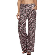 Cyber Meaneor Women Straight Pants Elastic Waist Casual Loose Print Long Pockets Trousers