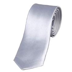 Cyber Mens Casual Slim Plain Mens Solid Skinny Neck Party Wedding Tie Necktie (Silver)