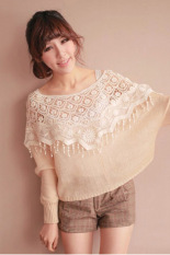 Cyber Mesh Hollow Crochet Lace Knit Shawl Cape