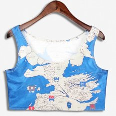 Cyber New Women Fashion Sleeveless Map Print Casual Personalized Elastic Tank Crop Top