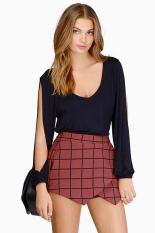 Cyber Sexy Deep V-Neck Long-Sleeve Lady's Women T-Shirts (Black)