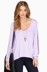 Cyber Sexy Deep V-Neck Long-Sleeve Lady's Women T-Shirts (Purple)