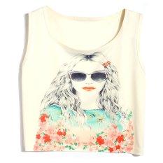 Cyber Sexy Women Summer O-Neck Short Tank Vest Print Casual Sleeveless Crop Tops (Type 6)