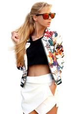 Cyber Spring Autumn Women O-Neck Long Sleeve Floral Zipper Baseball Jacket Coat Tops (White)