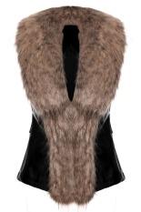 Cyber Stylish Ladies Women Faux Fur Synthetic Leather Slim Solid Warm Vest Waistcoat (Brown)