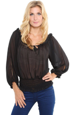 Cyber Stylish Ladies Women Square Neck Long Sleeve Tunic Solid Casual Top Blouse (Black)