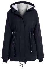 Cyber New Stylish Meaneor Women Casual Long Sleeve Front Zipper Fleece Hooded Coat (Navy Blue)
