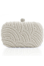 Sunweb Women Clutch Bag Pearl Beaded Party Bridal Handbag Wedding Evening Purse (White)