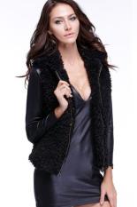 Cyber Women Fall Winter Faux Fur Vest Winter Sleeveless Luxury Fur Waistcoat (Black)