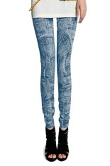 Cyber Women Fashion Jeggings Stretch Skinny Leggings Tights Pencil Pants Casual Pocket Pattern Jeans (Blue)