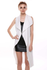 Cyber Women Fashion Sleeveless Long Windbreaker Outwear Cardigan Jacket Coat with Belt (White)