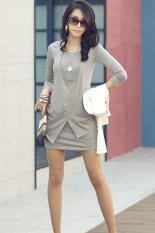 Cyber Women Long Sleeve Crew Neck Cotton Short Mini Dress Long Top (Grey)