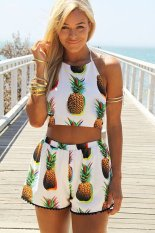 Cyber Women Two Pieces Sexy Bandage Sleeveless Backless Crop Top And Print Elastic Waist Casual Shorts