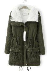Cyber Women Winter Outerwear Cotton-Padded Jacket Medium-Long Thin Waist Wadded Jacket Thick Coat (Amy Green)