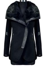 Cyber Fashion Women's Fur Collar Thick Warm Zipper Jacket (Black)
