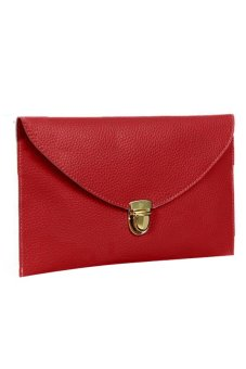 Cyber Women'S Golden Chain Envelope Purse Clutch Synthetic Leather Handbag Shoulder Bag&Nbsp;Dinner Party (Red)