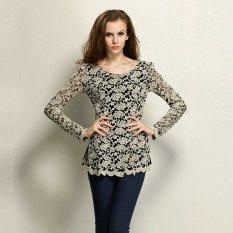 Cyber Women's Long Sleeve Hollow Floral Design Lace Sheer T-shirt Peplum Jumper Top Blouse(white)