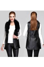 Cyber Women's Long Vest Faux Fur Collar Synthetic Leather Waistcoat Jacket (Black)