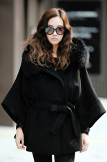 Cyber Women's Luxury Double Breasted Batwing Cape Poncho Coat Jacket Fur Collar Hooded