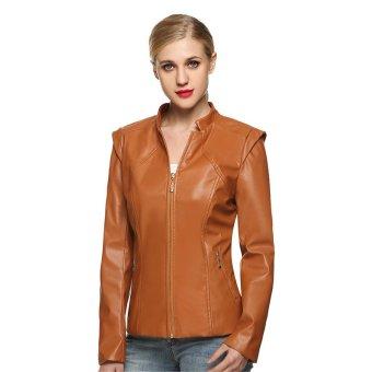 Cyber Zeagoo wanita keren kulit sintetis ritsleting jaket saku mantel lebih tahan dr atas (Coklat)
