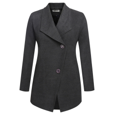 Cyber Zeagoo Women Fashion Casual Lapel Turn Down Collar Long Sleeve Solid Wool Blend Long Coat (Dark Grey)