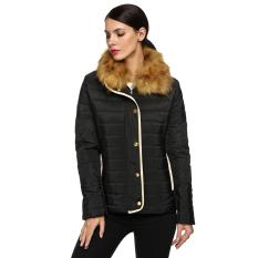 Cyber Zeagoo Women Ladies Detachable Fur Collar Cotton Thick Warmer Outwear Down Coat (Black)