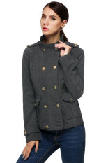 Cyber Zeagoo Women Retro Casual Winter Woolen Coat Double Breasted Military Short Jacket (Grey)