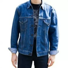 D1NY Collection Jaket Denim Jeans Ariel Pria Biru Bio Wash