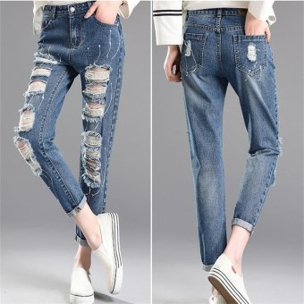 dark Blue Denim Destroyed Washed Slim Jeans Korea Fashion High Waist Sculpt Butt Lifting Pencil Jeans