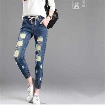 7dea50ecbd Dark Blue Korean Women Summer Pants Holes Casual Trousers for Ladies Ripped  Mid Waist Drawstring Skinny