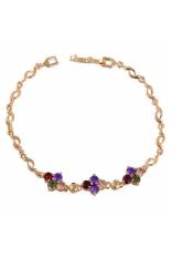 Diamond Shaped Zircon Deored Gold Plated Women Bracelet Cuff Bangle
