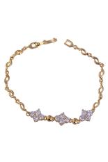 Diamond Shaped Zircon Deored Gold Plated Women Bracelet Cuff Bangle White