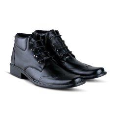 Distro Bandung VR 396 Sepatu Formal Pria Untuk Kerja Kantor Kulit Sintetis - Hitam