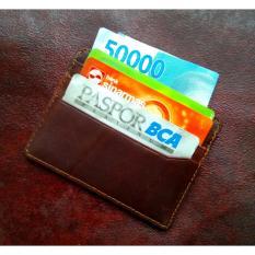 dm Card Holder Kulit Asli Pull Up Impor (Tekstur Kulit Lembut) (Dark Brown)