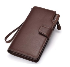Dompet Pria Pulabo Leather Wallet Soft Leather Purse Phone Bag - Coklat
