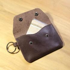 Dompet STNK Kulit Sapi Asli - Gantungan Kunci Mobil Motor (Coklat Tua)