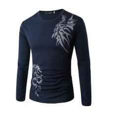 Dragon Tattoo Men's Fashion Casual Long-sleeved Round Neck T-shirt Printing Navy (Intl)