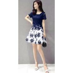 Dress Lengan Pendek Bunga / Gaun Wanita / Dress Flower brukat / Baju Dress / Hongkong Dress / Dress Stylist NR - Navy
