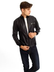 DSC Simple Leather Jacket - Hitam