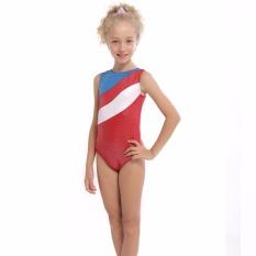 DXIANG 2-11Y Girls Red Ballet Gymnastics Leotards Patchwork Stripe Sleeveless Dancewear Professional Dancesuit - intl