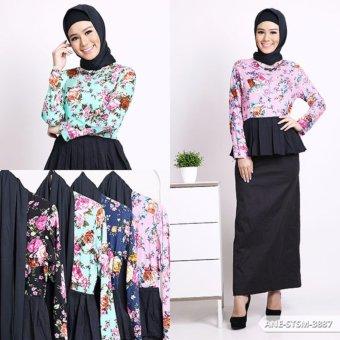 Edriana Flowery Peplum Muslim Set