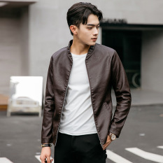 EGC New Men's Korean Styles Locomotive Stand Collar PU Leather Jacket Coat (Coffee)