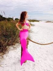 Ekor putri duyung kecil anak perempuan mandi renang pakaian renang baju renang Bikini kostum-panas berwarna merah muda - International